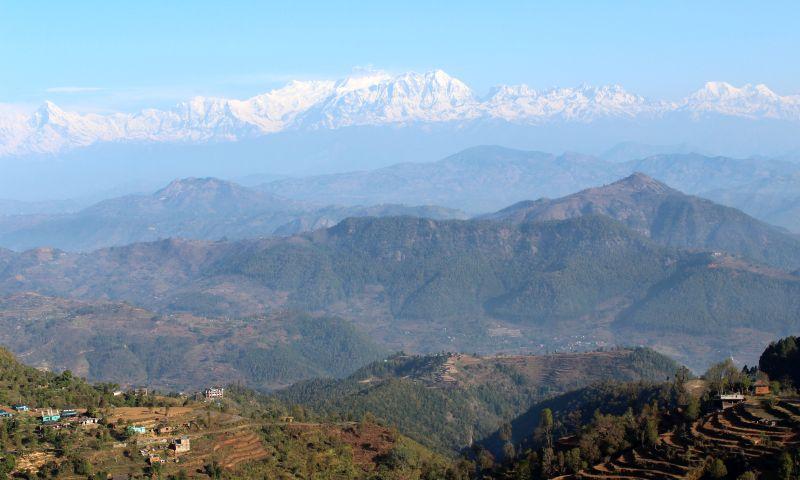 von links nach rechts Machhapuchhare 6993 m, Annapurna4 7525 m, Annapurna2 7937 m, Lamjung Himal 6966 m