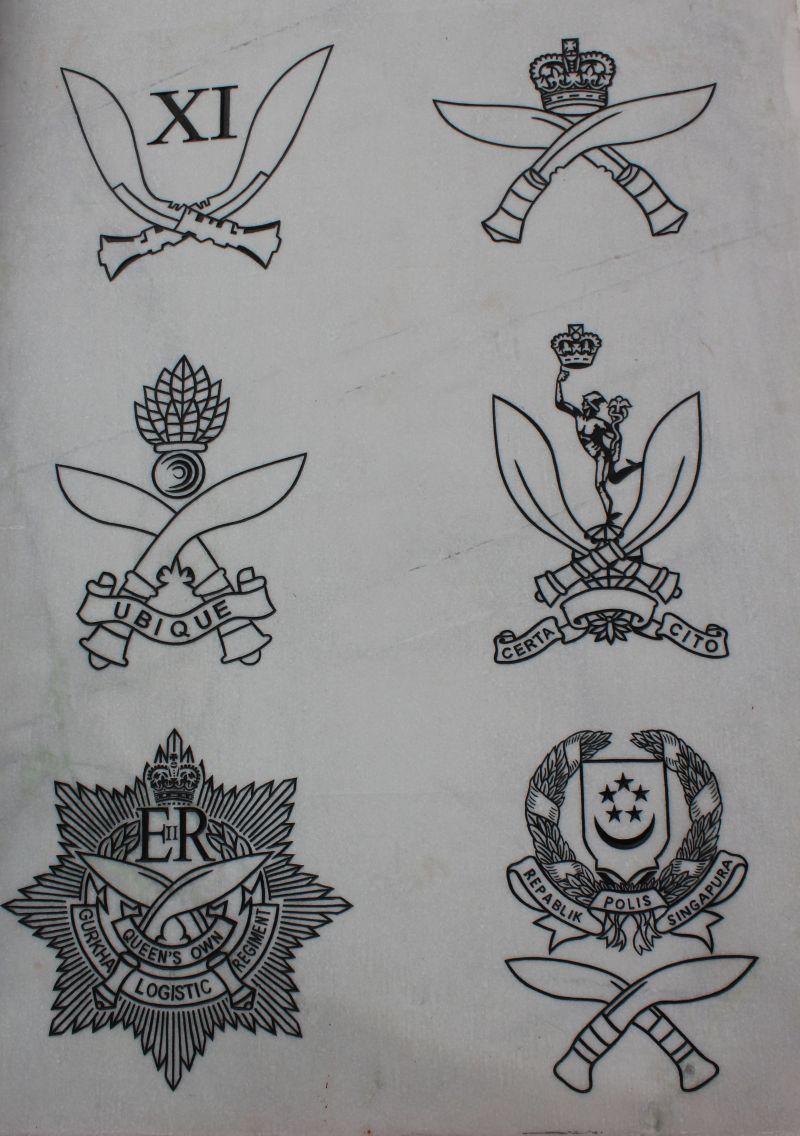 Die Abzeichen der verschiedenen Gurkha-Regimente, immer mit den traditionellen Gurkha-Messern