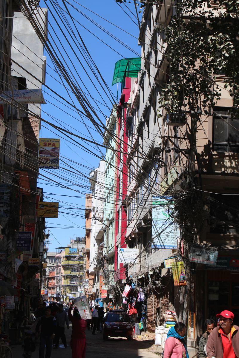 Stromkabel in Kathmandu