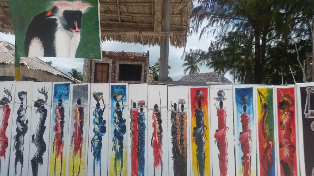 Kunst an Jambiani Beach